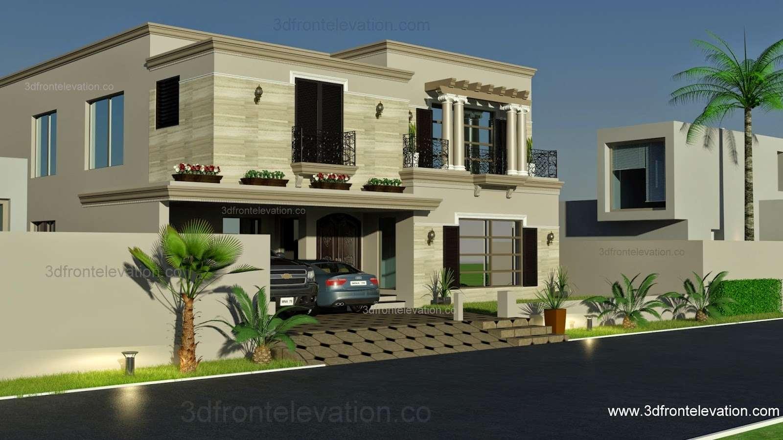 Elevation Kanal Spanish House Design Plan Dha Lahore Pakistan