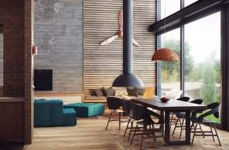 Entire Space Warmed Wooden Ceiling Panels Which Also
