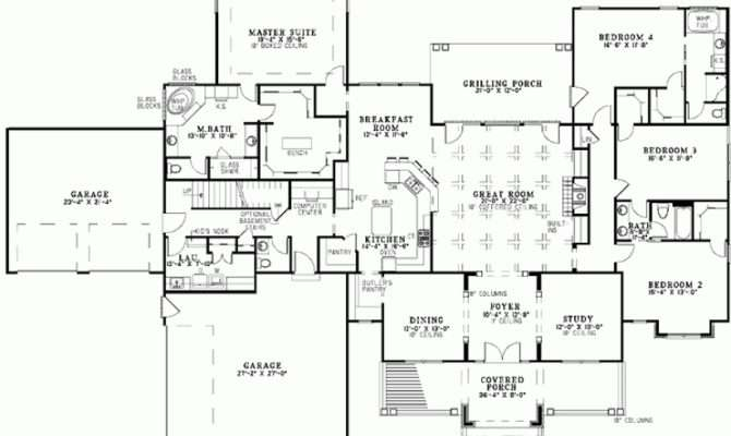 Eplans Bungalow House Plan Four Bedroom Square Feet