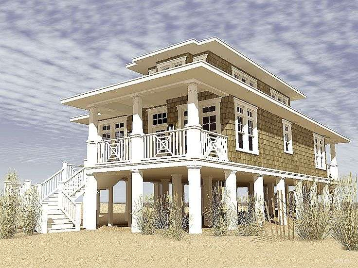 Exceptional Coastal House Plans Pilings Narrow Lot