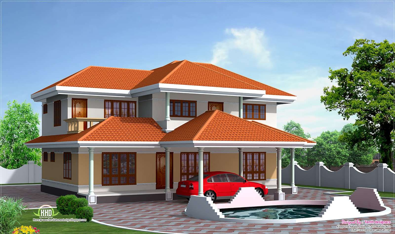 Feet Two Storey House Elevation Kerala Home Design Floor