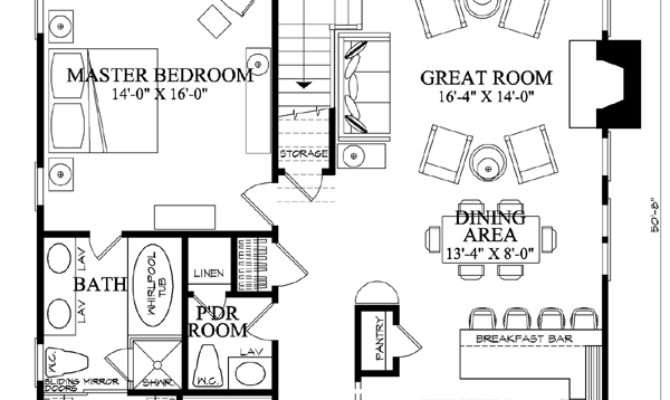 First Floor Plan Cottage Country Farmhouse House