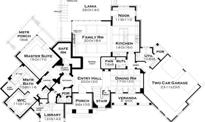 First Floor Plan Craftsman Tuscan House