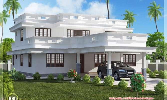 Flat Roof Home Design Bedroom Kerala Floor