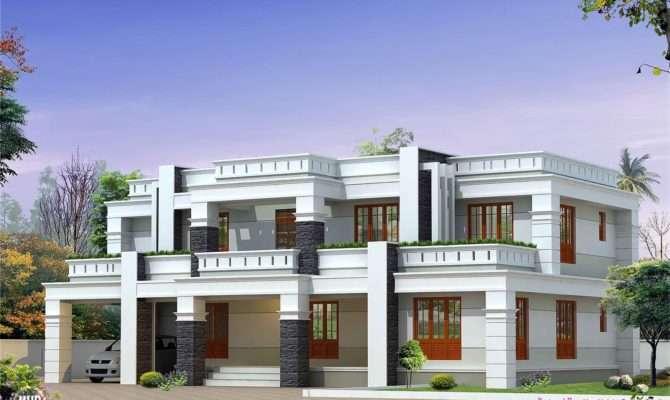 Flat Roof Luxury Home Design Kerala