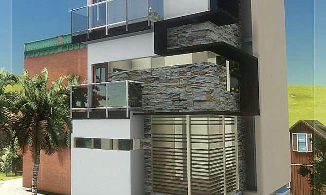 Floor Contemporary Narrow Home Design Kerala