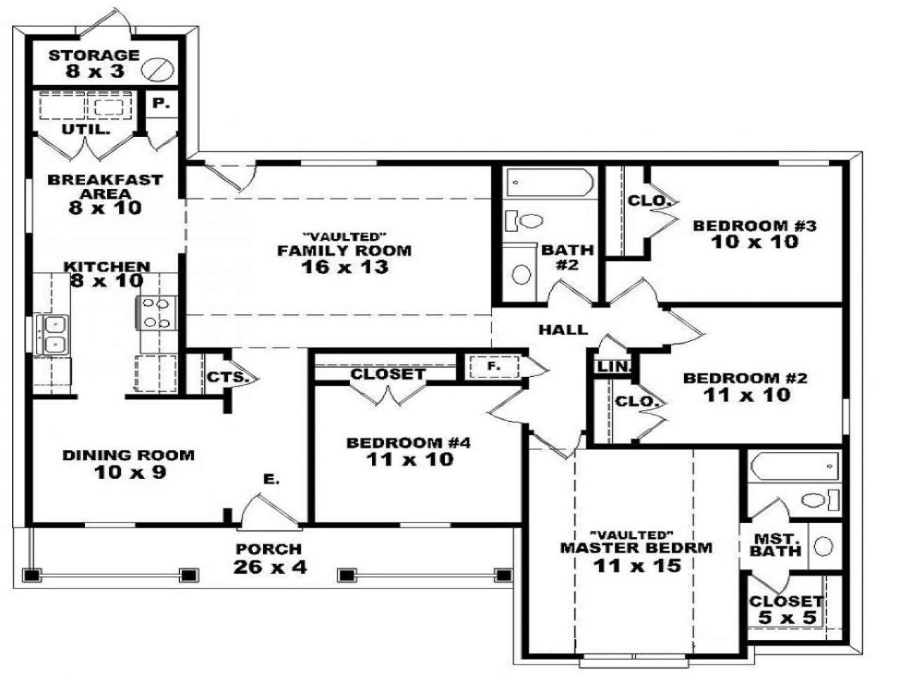 Floor House Plans Withal Bedroom One Story Homes