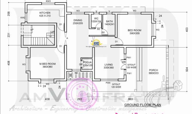 Floor Plan Elevation Sloping Roof House Home