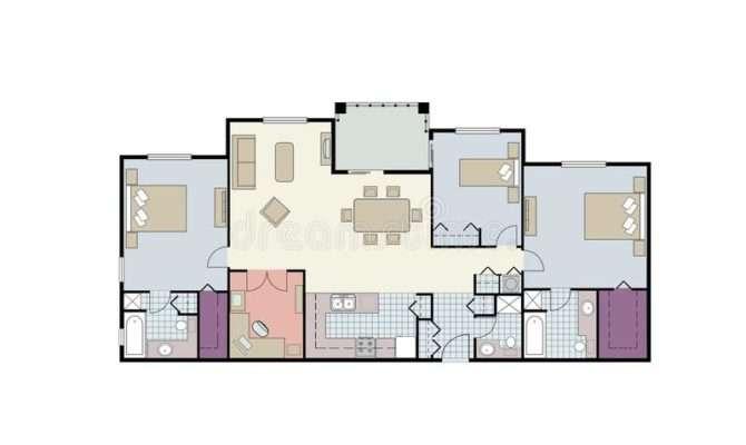 Floor Plan Three Bedroom Condo Furniture
