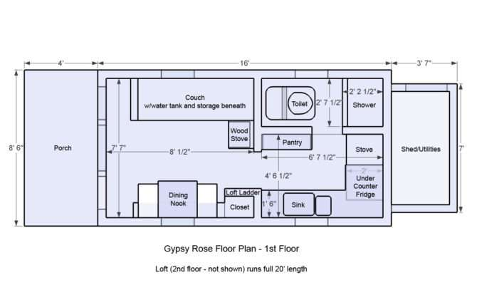 Floor Plans Tiny Houses Gypsy Rose Plan