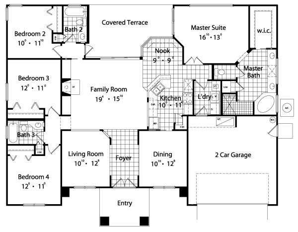 Four Bedroom House Plans Withal Sqaure Feet