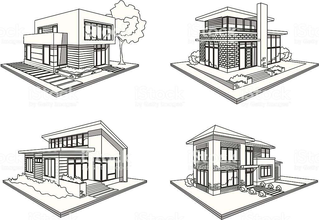 Four Houses Modern Mansions Sketch Icons Vector Art