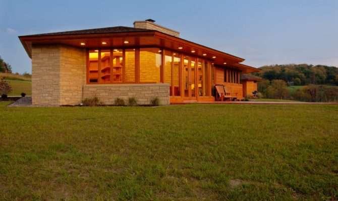Frank Lloyd Wright Inspired House Plans Living Room Modern