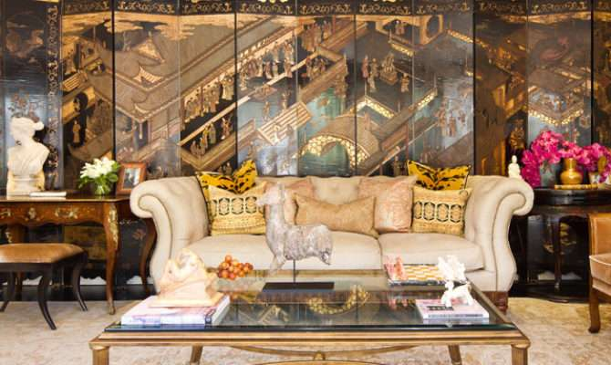 French Colonial Living Room Traditional