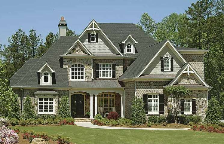 French Country Inspired Homes Rustic Look Grey Roof Stony Wall
