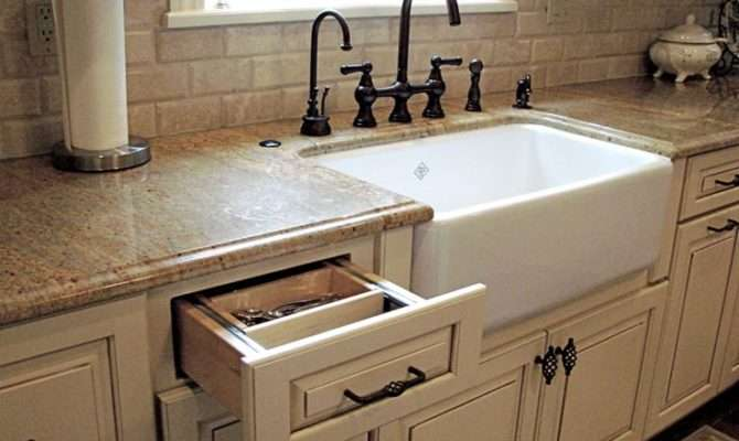 French Country Style Kitchen Featuring Under Mount Farmhouse Sink