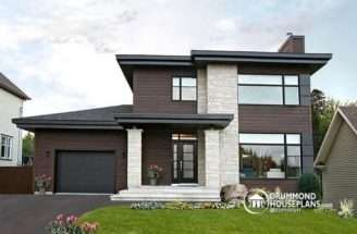 Front Affordable Contemporary Modern Home Plan Living