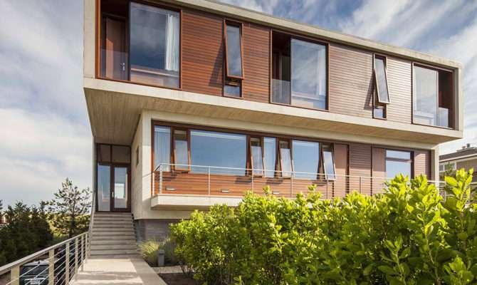 Front Beach House Wooden Wall Wood Framed Windows