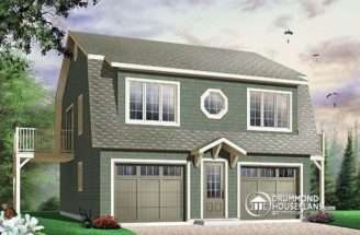 Front Garage House Plan Bedroom Apartment Private Balconies