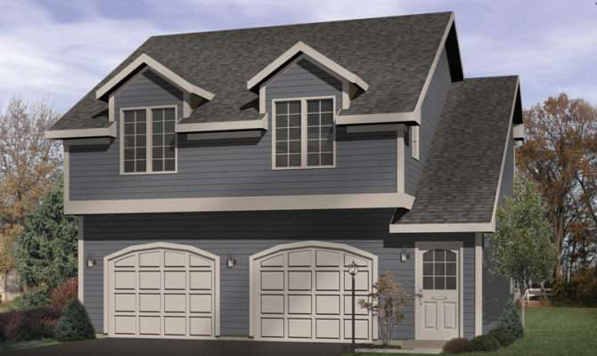 Gabled Dormers Top Two Story Garage Apartment