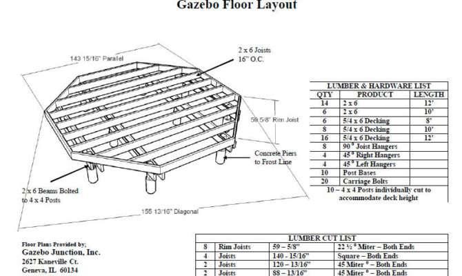 Gazebo Plans Specs Sale