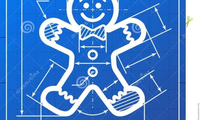 Gingerbread Man Symbol Like Blueprint Drawing Vector