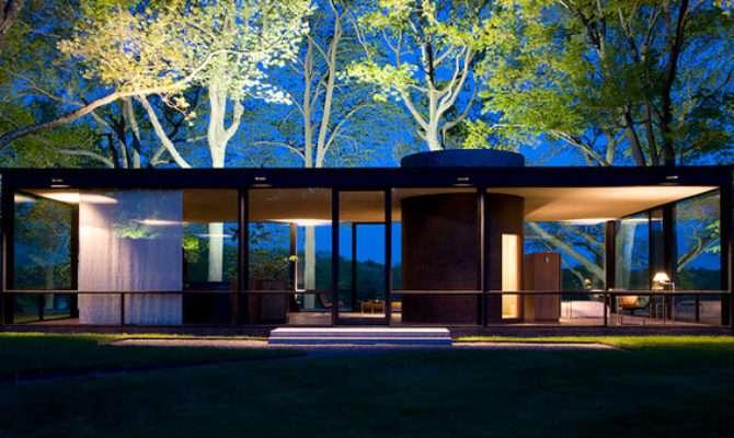 Glass House Dawn Modern Exterior New York