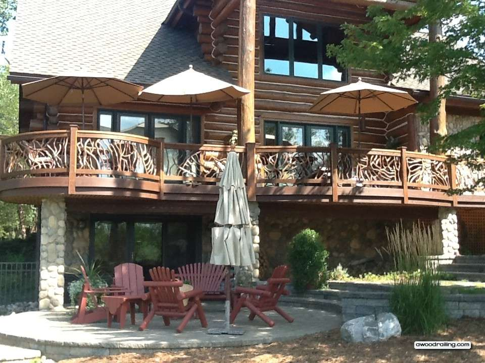 Gorgeous Curved Deck Railing Installed Log Home Circular