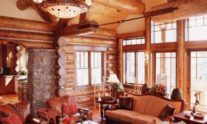 Granite Ridge Log Cabin Great Room Teton Heritage Builders