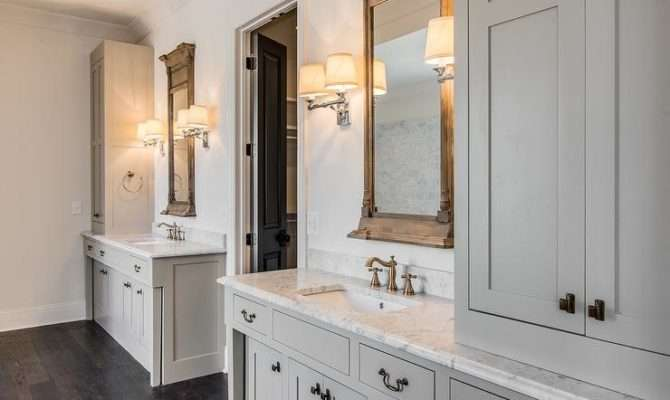 Gray Cottage Bathroom Neoclassical Window Mirrors Campaign