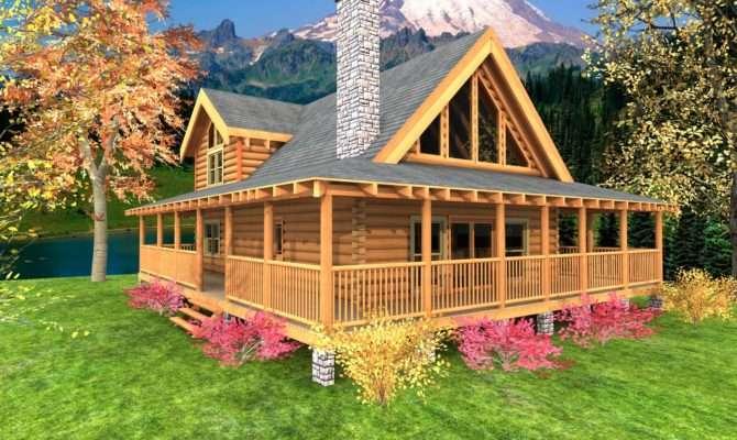 Great Log Cabin Floor Plans Wrap Around Porch