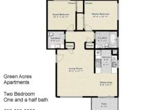 Green Acres Apartments Two Bedroom One Half Bath Floorplan