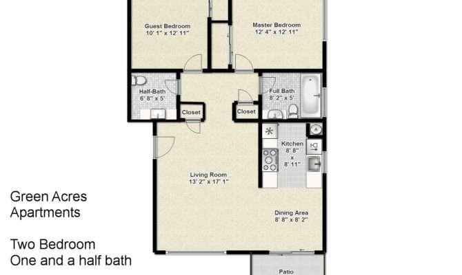 Green Acres Apartments Two Bedroom One Half Bath Floorplan