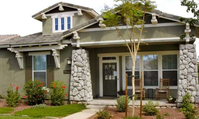 Green Craftsman Home Exterior Stone Columns Stucco Siding
