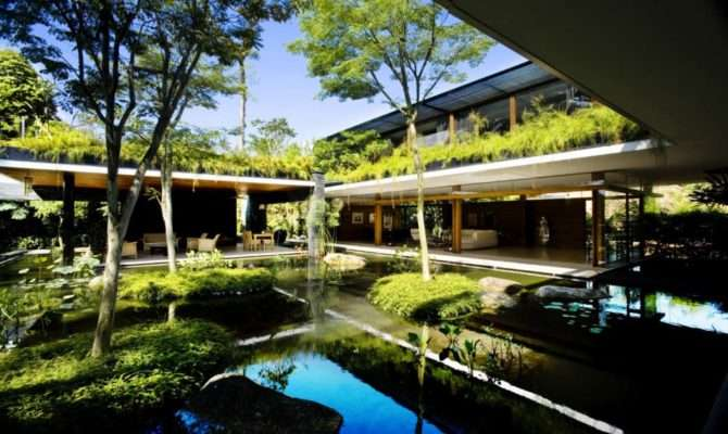 Green Roof House Design Singapore Most Beautiful Houses World