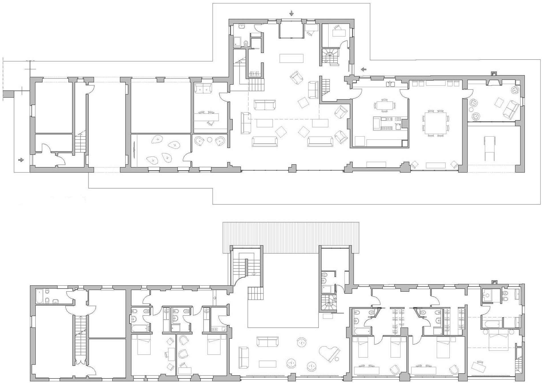 Ground First Floor Plans Rustic Farmhouse Rosignano Monferrato