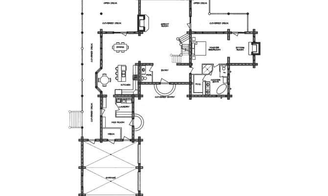 Hacienda Log Home Floor Plan