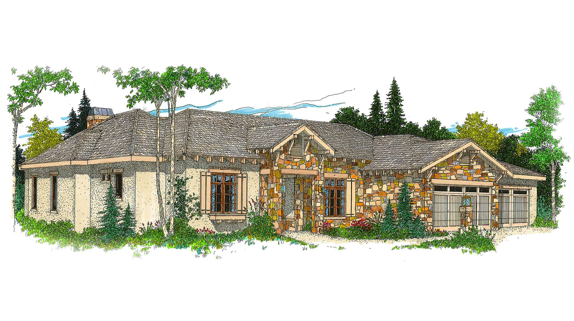 Hill Country Ranch House Plan Architectural