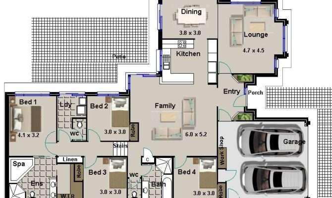 Hillside Bedroom Living Areas Double Garage House Plans Sale