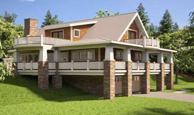 Hillside House Plans Rear