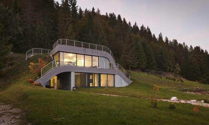 House Built Into Hillside France Contemporist