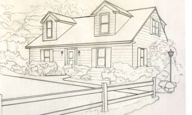 House Catelog Drawing Greyscale Small Kathleen Kelley