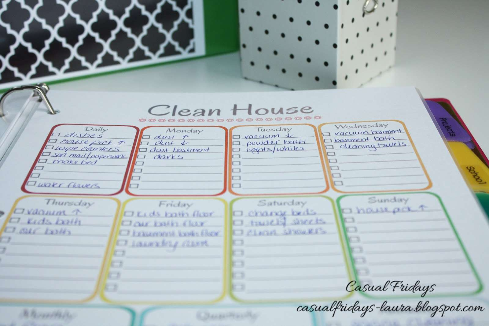 House Cleaning Whole Daily Plan