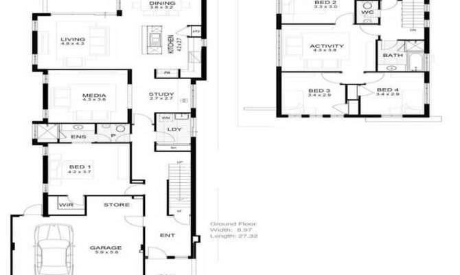 House Floor Plan Narrow Lot Plans Open Kitchen