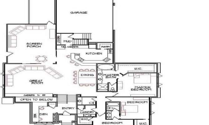 House Floor Plan Narrow Lot Plans Open Kitchen