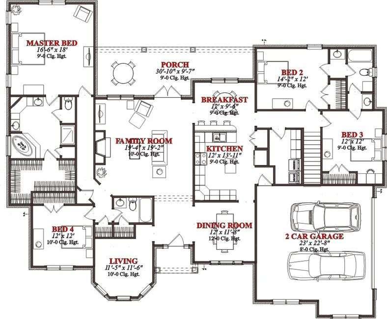 House Floor Plans Bedroom Bath Square Feet Bedrooms
