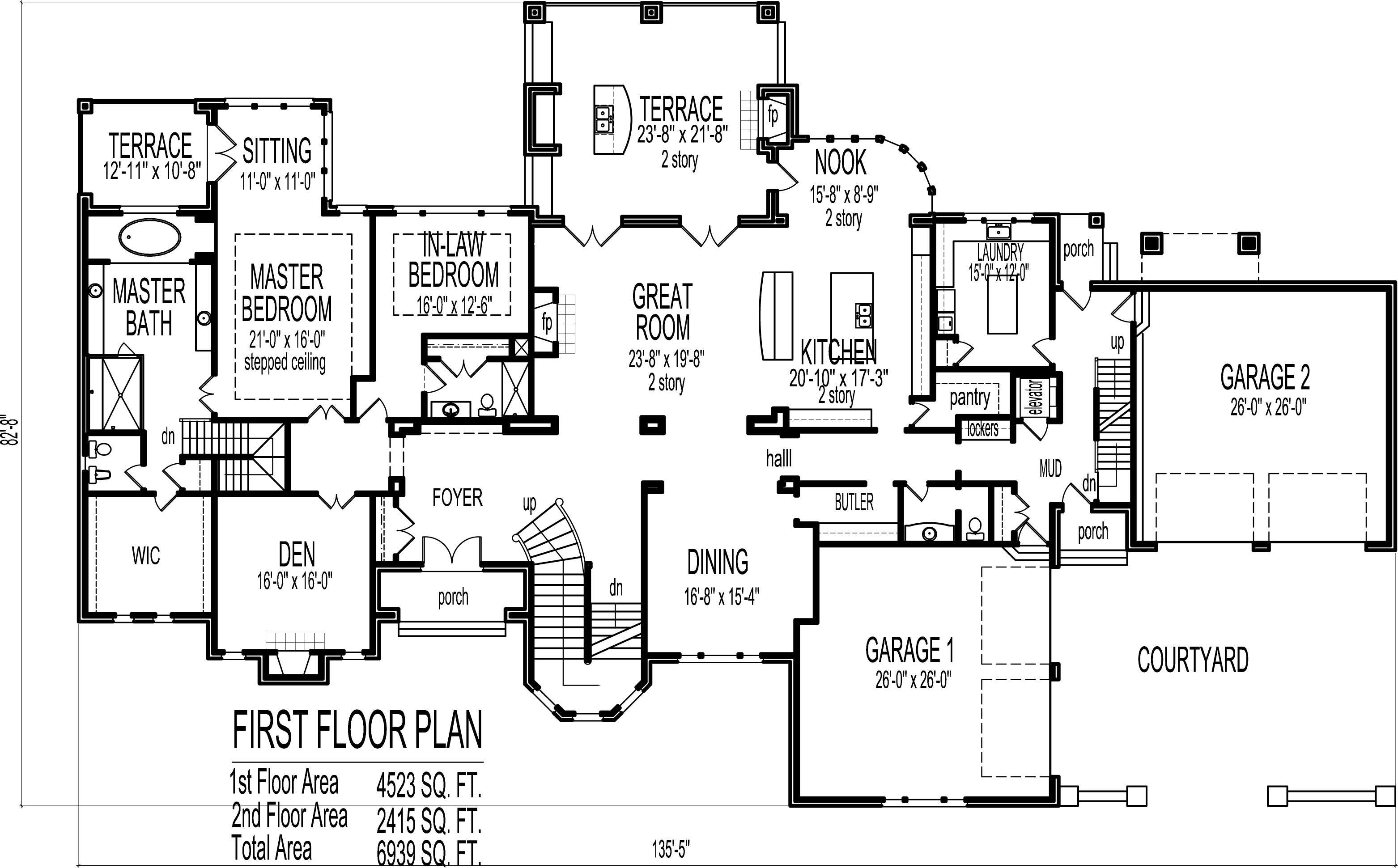 House Floor Plans Blueprints Story Bedroom Large Home Designs