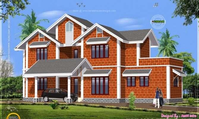 House Made Laterite Stone Kerala Home Design