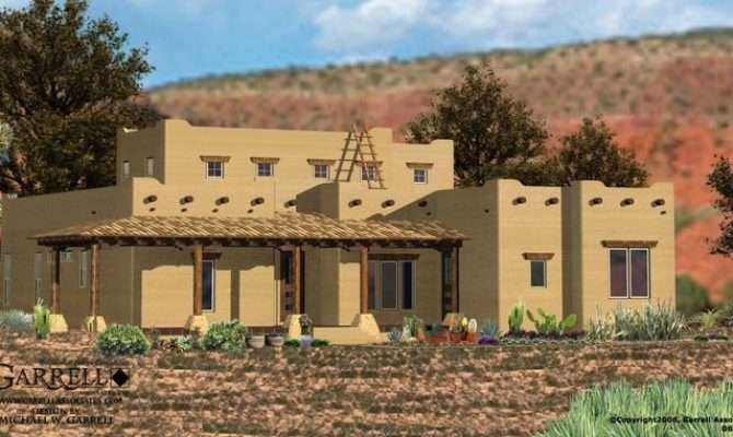 House Plan Front Elevation Southwestern Plans Houses