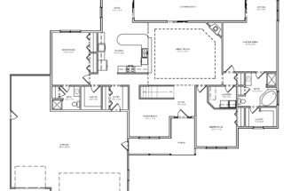House Plan Single Level Great Room Ranch Basement
